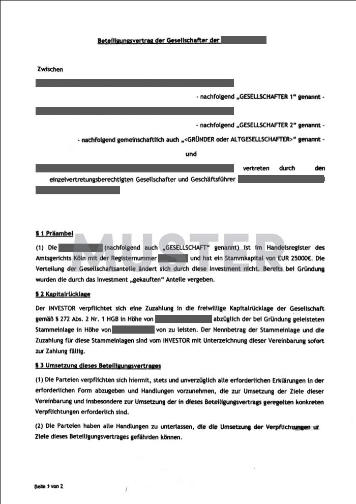 gearo KYC Beispieldokument Gesellschaftervertrag